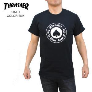 THRASHER スラッシャー メンズTシャツ OATH BLK SKATE TEE|eshop