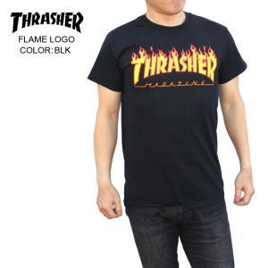 THRASHER スラッシャー メンズTシャツ FLAME LOGO BLK SKATE TEE|eshop