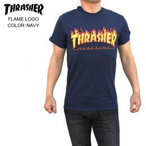 THRASHER スラッシャー メンズTシャツ FLAME LOGO NAVY SKATE TEE|eshop