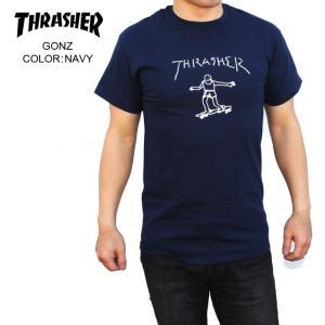 THRASHER スラッシャー メンズTシャツ GONZ NAVY SKATE TEE|eshop