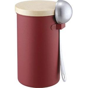 コーヒー保存容器 コーヒーキャニスター メジャースプーンセット レッド|esndirect