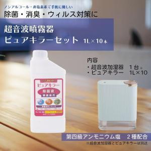ノンアルコール 除菌液 非塩素系 第四級アンモニウム塩2種配合 除菌 消臭 ウイルス対策 ピュアキラー 卓上噴霧器セット|esndirect