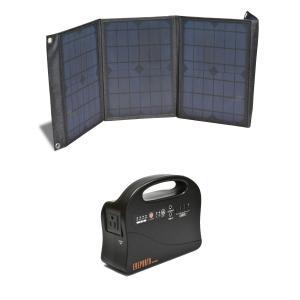 ソーラーパネル+186whポータブル電源セット 太陽光 アウトドア 災害時に esndirect