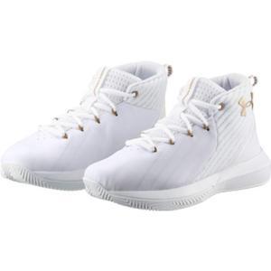 アンダーアーマー(UNDER ARMOUR) ジュニア バスケ シューズ UA BGS Lockdown 3 SYN Wide WHT/WHT/MGD 3021165 バッシュ バスケットボール 靴 男の子 女の子|esports