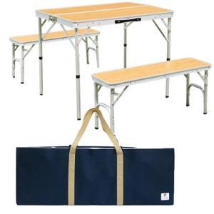 アウトドア 折りたたみテーブル 収納袋 チェアセット ピクニックテーブルセット バンブー ALPT-...