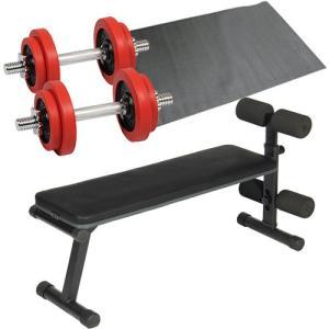 ダンベルトレーニング4点セット:レッド10kg フラットベンチ ラバーダンベル10kg 2個セット 保護マット 20kgセット 7kg 5kg ウエイト ベンチプレス 筋トレ
