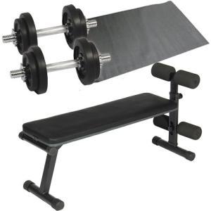 ダンベルトレーニング4点セット:ブラック10kg フラットベンチ ラバーダンベル10kg 2個セット 保護マット 20kgセット 7kg 5kg ウエイト ベンチプレス 筋トレ|esports