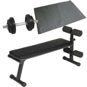 ダンベルトレーニング3点セット:ブラック10kg フラットベンチ ラバーダンベル10kg 保護マット 10kgセット 7kg 5kg ウエイトトレーニング ベンチプレス 筋トレ|esports