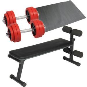 ダンベルトレーニング4点セット:レッド15kg フラットベンチ ラバーダンベル15kg 2個セット 保護マット 30kgセット 10kg 5kg ウエイトトレーニング ベンチプレス