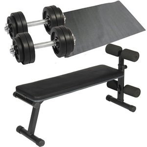 ダンベルトレーニング4点セット:ブラック15kg フラットベンチ ラバーダンベル15kg 2個セット 保護マット 30kgセット 10kg 5kg ウエイトトレーニング