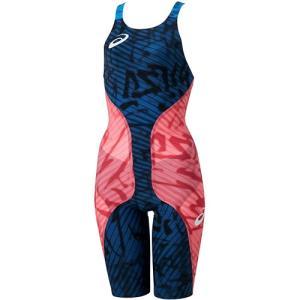アシックス(asics) レディース 高速水着 補強済 トップインパクト ライオグライドプラス ネイビー/コーラル 2162A035 700 FINA承認 女性用競泳水着 競技用