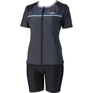 エレッセ(ellesse) 細みせ美セパ 半袖セパレーツ ブラックミックス ES57117 KX レディースフィットネス水着 女性用 esports