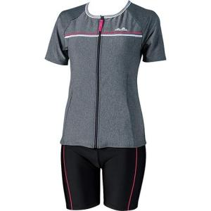 エレッセ(ellesse) 細みせ美セパ 半袖セパレーツ ミックスグレイ/ピンク ES57117 MP レディースフィットネス水着 女性用 esports