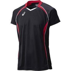 アシックス(asics) ゲームシャツHS XW1316 ブラック×Vレッド バレーボール トレーニングウェア 半袖|esports