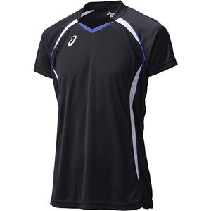 アシックス(asics) ゲームシャツHS XW1316 ブラック×ホワイト バレーボール トレーニングウェア 半袖|esports