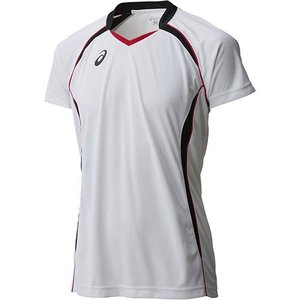 アシックス(asics) ゲームシャツHS XW1316 ホワイト×ブラック バレーボール ジュニア トレーニングウェア 半袖|esports