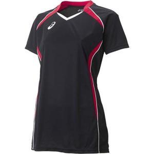 アシックス(asics) W'SゲームシャツHS XW1317 ブラック×Vレッド バレーボール レディース トレーニングウェア 半袖|esports