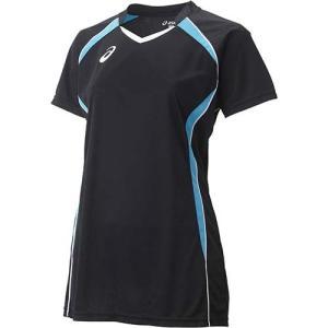 アシックス(asics) W'SゲームシャツHS XW1317 ブラック×アクア バレーボール レディース トレーニングウェア 半袖|esports