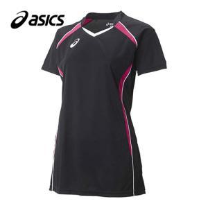 アシックス(asics) W'SゲームシャツHS XW1317 ブラック×ベリー バレーボール レディース トレーニングウェア 半袖|esports