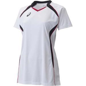 アシックス(asics) W'SゲームシャツHS XW1317 ホワイト×ブラック バレーボール レディース トレーニングウェア 半袖|esports