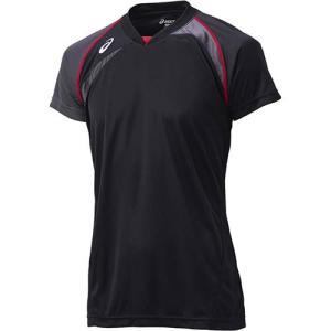 アシックス(asics) ゲームシャツHS XW1318 ブラック×カーボン バレーボール トレーニングウェア 半袖|esports
