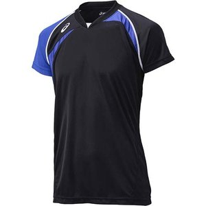 アシックス(asics) ゲームシャツHS XW1318 ブラック×ブルー バレーボール トレーニングウェア 半袖|esports