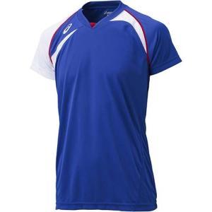 アシックス(asics) ゲームシャツHS XW1318 ブルー×ホワイト バレーボール ジュニア トレーニングウェア 半袖|esports