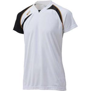 アシックス(asics) ゲームシャツHS XW1318 ホワイト×ブラック バレーボール トレーニングウェア 半袖|esports