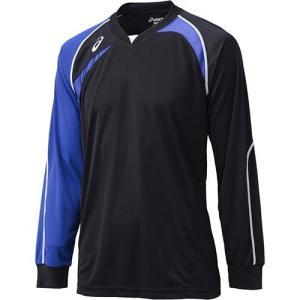 アシックス(asics) ゲームシャツLS XW1319 ブラック×ブルー バレーボール ジュニア トレーニングウェア 長袖|esports