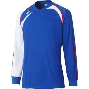 アシックス(asics) ゲームシャツLS XW1319 ブルー×ホワイト バレーボール トレーニングウェア 長袖|esports
