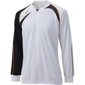 アシックス(asics) ゲームシャツLS XW1319 ホワイト×ブラック バレーボール トレーニングウェア 長袖|esports