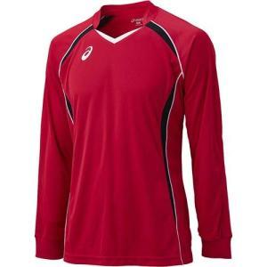 アシックス(asics) ゲームシャツLS XW1320 Vレッド×ブラック バレーボール ジュニア トレーニングウェア 長袖|esports