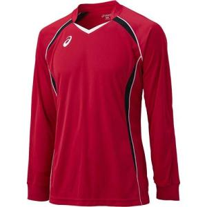 アシックス(asics) ゲームシャツLS XW1320 Vレッド×ブラック バレーボール トレーニングウェア 長袖 esports