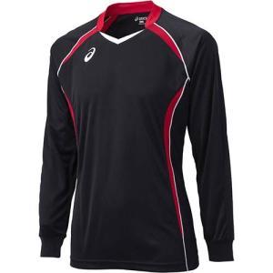 アシックス(asics) ゲームシャツLS XW1320 ブラック×Vレッド バレーボール トレーニングウェア 長袖|esports