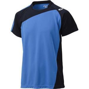 アシックス(asics) ゲームシャツHS XW1321 Iブルー×ブラック バレーボール トレーニングウェア 半袖|esports