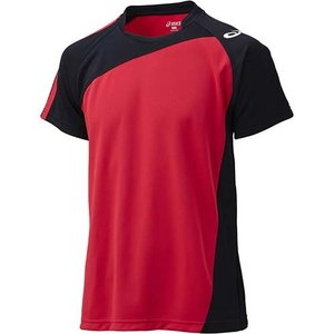 アシックス(asics) ゲームシャツHS XW1321 Vレッド×ブラック バレーボール ジュニア トレーニングウェア 半袖|esports