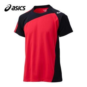アシックス(asics) ゲームシャツHS XW1321 Vレッド×ブラック バレーボール トレーニングウェア 半袖|esports