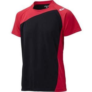 アシックス(asics) ゲームシャツHS XW1321 ブラック×Vレッド バレーボール ジュニア トレーニングウェア 半袖|esports