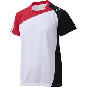 アシックス(asics) ゲームシャツHS XW1321 ホワイト×Vレッド バレーボール トレーニングウェア 半袖|esports