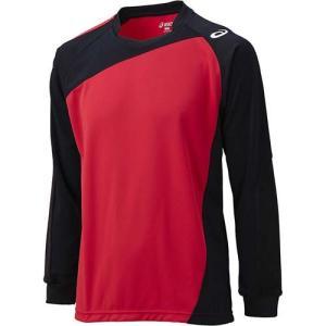 アシックス(asics) ゲームシャツLS XW1322 Vレッド×ブラック バレーボール ジュニア トレーニングウェア 長袖|esports