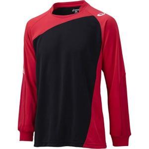 アシックス(asics) ゲームシャツLS XW1322 ブラック×Vレッド バレーボール トレーニングウェア 長袖|esports