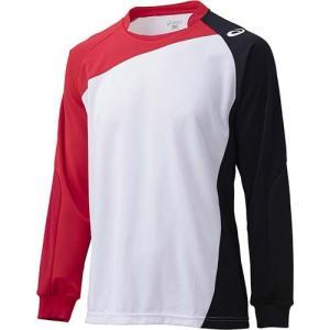 アシックス(asics) ゲームシャツLS XW1322 ホワイト×Vレッド バレーボール ジュニア トレーニングウェア 長袖|esports