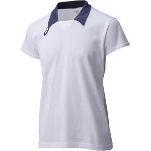 アシックス(asics) ゲームシャツHS XW1323 ホワイト×ネイビー バレーボール トレーニングウェア 半袖|esports