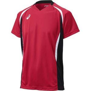 アシックス(asics) ゲームシャツHS XW1325 Vレッド×ブラック バレーボール ジュニア トレーニングウェア 半袖 esports