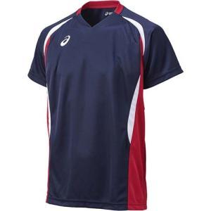 アシックス(asics) ゲームシャツHS XW1325 ネイビー×Vレッド バレーボール トレーニングウェア 半袖|esports