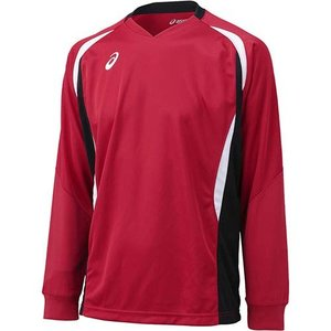 アシックス(asics) ゲームシャツLS XW1326 Vレッド×ブラック バレーボール ジュニア トレーニングウェア 長袖|esports