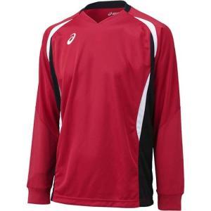 アシックス(asics) ゲームシャツLS XW1326 Vレッド×ブラック バレーボール トレーニングウェア 長袖|esports