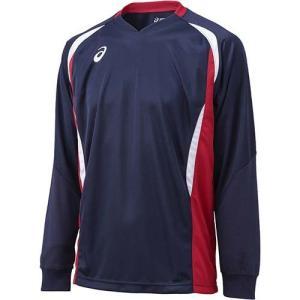アシックス(asics) ゲームシャツLS XW1326 ネイビー×Vレッド バレーボール トレーニングウェア 長袖|esports