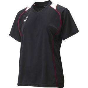 アシックス(asics) W'SプラシャツHS XW6418 ブラック×Vレッド バレーボール レディース トレーニングウェア 半袖|esports