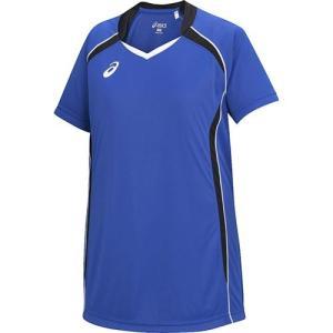 アシックス(asics) ゲームシャツHS ジュニア XW1316 ブルー×ブラック バレーボール トレーニングウェア プラシャツ|esports